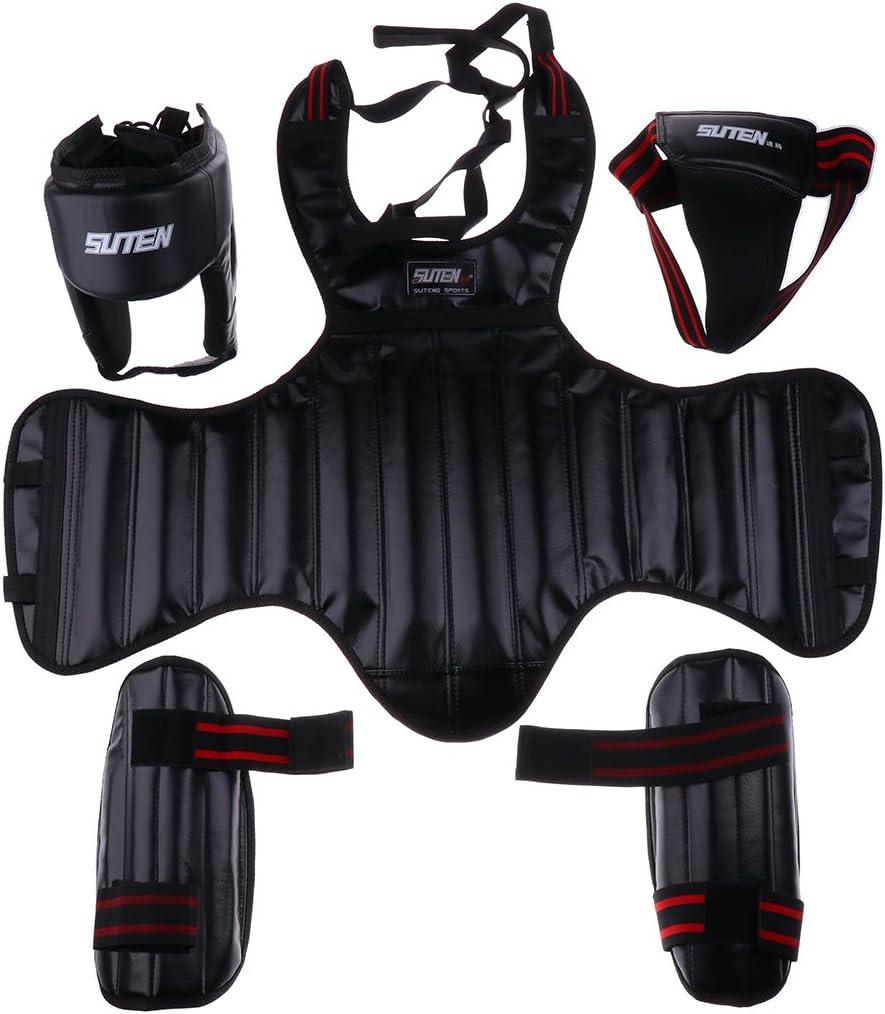 CUTICATE 1セットボクシングヘッドガードヘッドギア+チェスト、Gro部プロテクター+シンパッド-ムエタイ、キックボクシング、MMA、テコンドーなどに最適-さまざまな色 ブラック