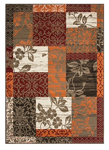 Milan Brown Red Orange Beige & Ivory Cream Floral Patchwork Living Room Accent Area Rug - 5'3