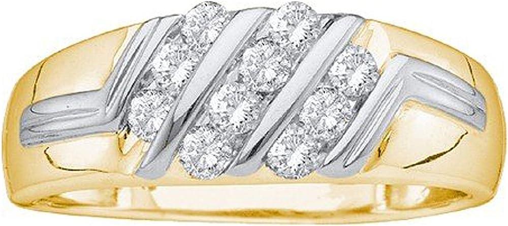 Anillo de boda de 0,50 quilates (oro amarillo de 10 quilates, corte redondo, diamante blanco, anillo de clúster para hombre 1/2 CT)