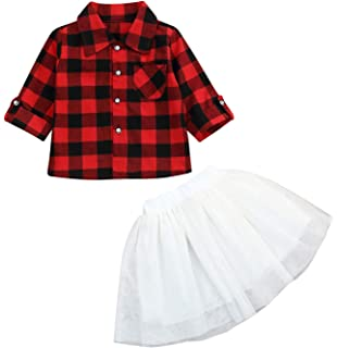 994ccad09e Toddler Christmas Outfits Baby Girls Button Down Plaid Flannel T-Shirt + Sweet  Tutu Skirt