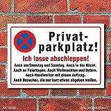 [2226f] Schild Privatparkplatz, abschleppen, 3 mm Alu-Verbund (300 x 200 mm)