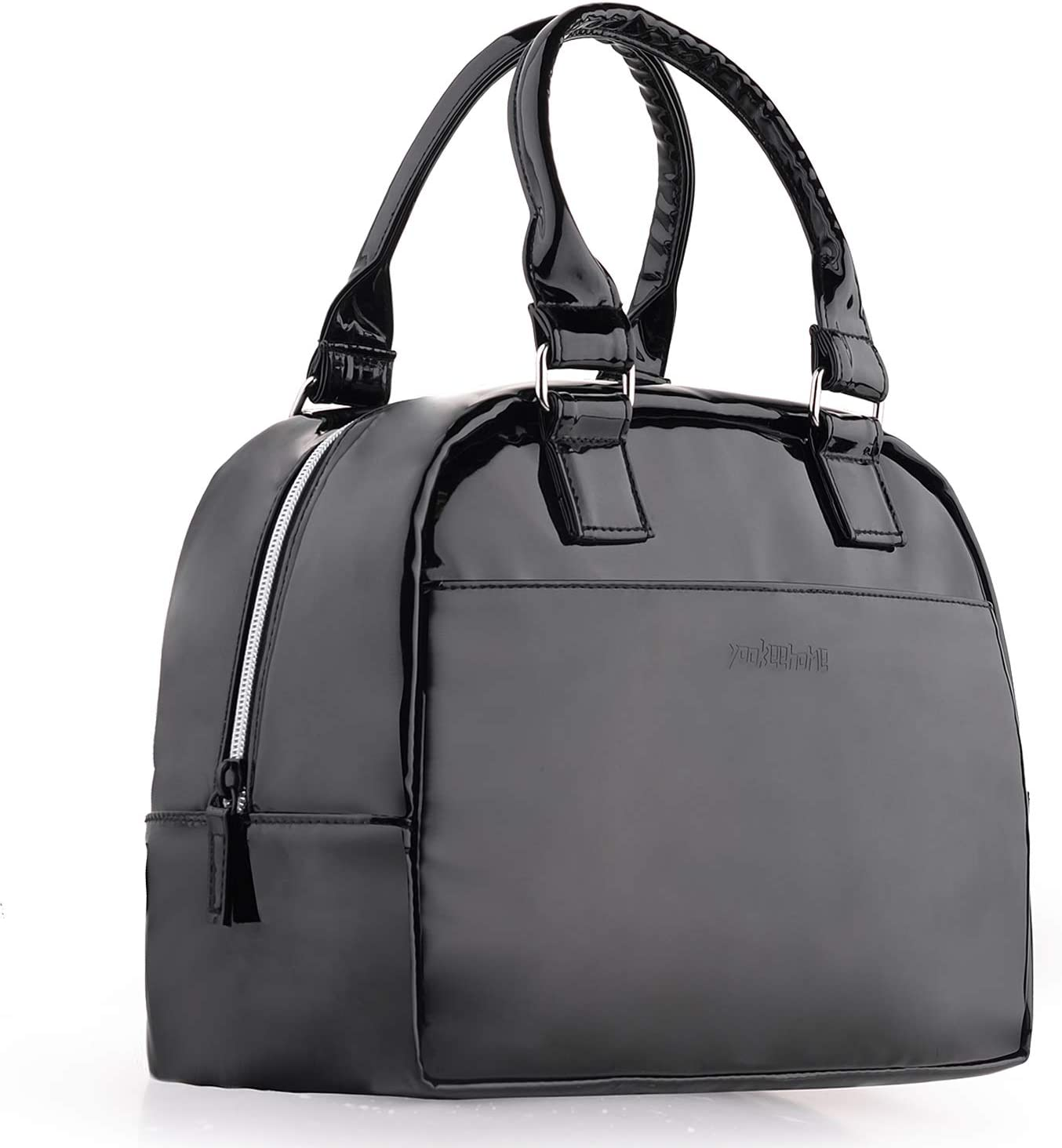 Patent Leather Lunch Box for Women Black Lunch Bags Thick Insulated Lunch Bags for Adults