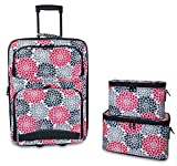 Ever Moda 3-Piece Carry On Luggage Set with Wheels for Travels (Flowers - Pink Black)