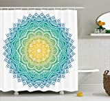 Ambesonne Mandala Decor Collection, Aquatic Color Mandala Pattern with Sun in Center Indian Art Meditation Zen Theme, Polyester Fabric Bathroom Shower Curtain, 84 Inches Extra Long, Yellow Green Blue