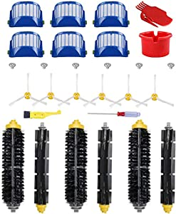 Neza Accessory for iRobot Roomba 600 Series 595 680 690 Replacement Part Kit,6 Filter,6 Side Brush,3 Pairs Bristle and Flexible Beater Brush