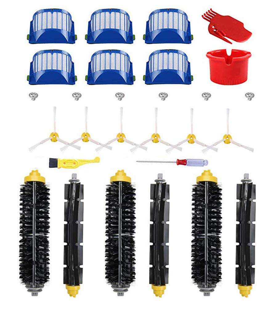 Neza Accessory for iRobot Roomba 600 Series 595 650 680 690 Replacement Part Kit,6 Filter,6 Side Brush,3 Pairs Bristle and Flexible Beater Brush