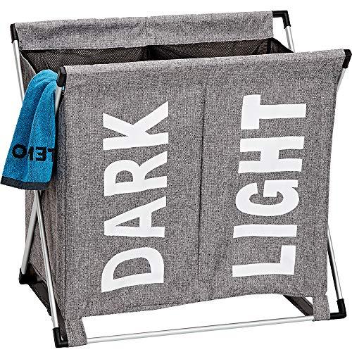 - HOMEST Laundry Basket 2 Sections, Large Dirty Clothes Hamper Sorter for Bathroom, Foldable Hamper Divided, Grey