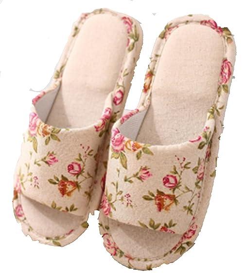 WJL Sábanas + Zapatillas de algodón, Zapatillas para hombres y mujeres en casa, Zapatillas de lino no deslizantes, Sandalias para el hogar ( Color : Floral , Size : 38/39 )