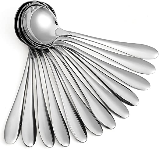 Eslite 12-Piece Black Soup Spoons//Stainless Steel Round Bouillon Spoons,7.7-Inch