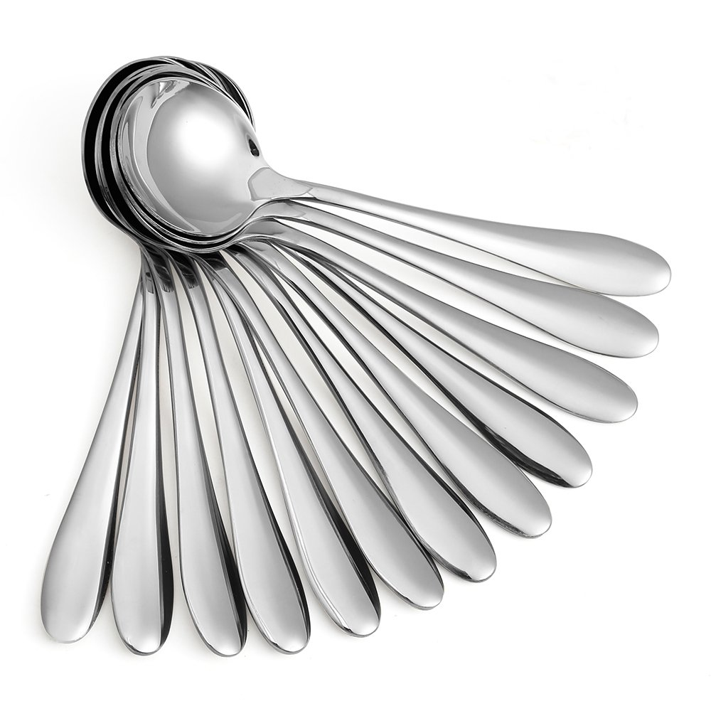 Eslite Large Soup Spoons/Stainless Steel Bouillion Spoons,12-Piece,7.7 Inches by Eslite