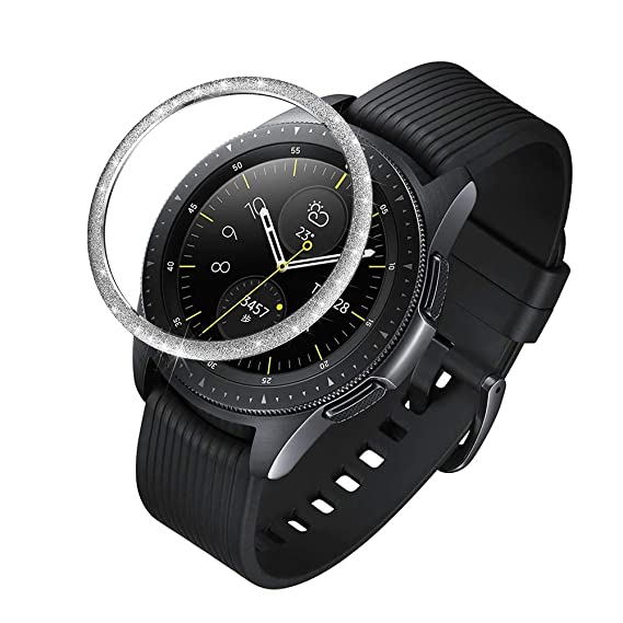 Smartwatch Cubierta de Acero Inoxidable Ohhome Anti Scratch Adhesivo Anillo Decorativo de Protección para Samsung Galaxy Watch 42mm Gear Sport