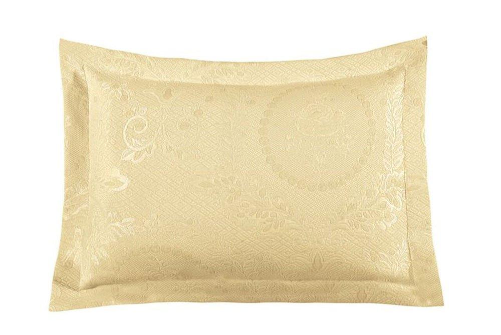 Europa Fine Linens Kensington Rose Matelasse Bedding, Standard Sham Size 20-Inch by 26-Inch, Yellow