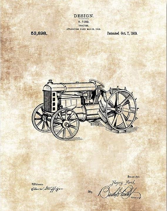 Henry Ford Tractor Design Print – 11 x 14 Unframed Patent Print – Ranch House Decor – Gran Regalo para granjeros y paisajistas: Amazon.es: Hogar
