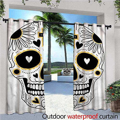 warmfamily Day of The Dead Outdoor Blackout Curtains Mexican Hippie Outdoor Privacy Porch Curtains W96 x L96 ()