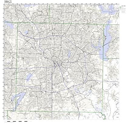 Amazon Com Dallas Tx Zip Code Map Laminated Home Kitchen