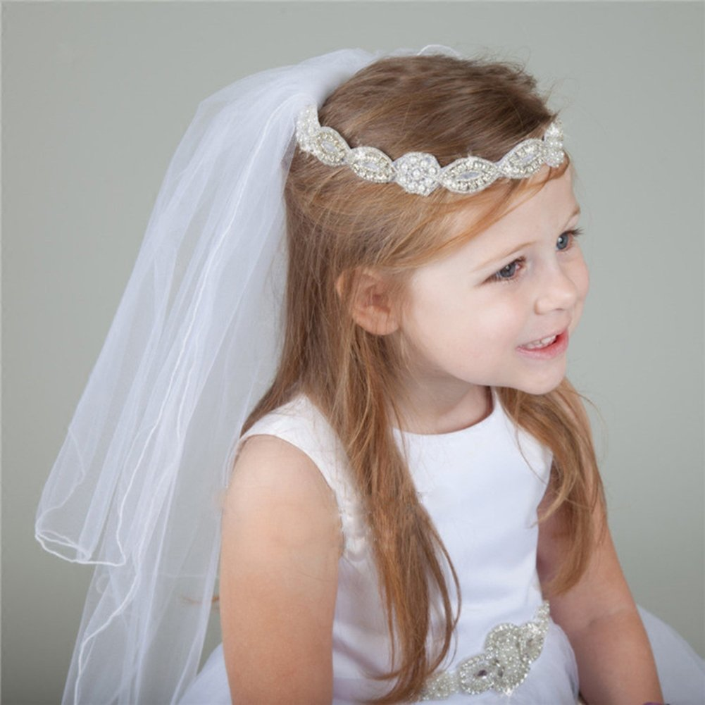 476d78b36c Girls' First Communion Veils Headband with Bow White Catholic Religious  Embroidered Wedding Veil