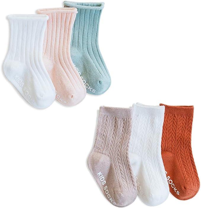 SONARIN 6 Pares Calcetines Antideslizantes para Niñas Niños, Color Liso, Calcetines de Algodón Antideslizante para niñas bebés, 0-6 meses: Amazon.es: Ropa y accesorios