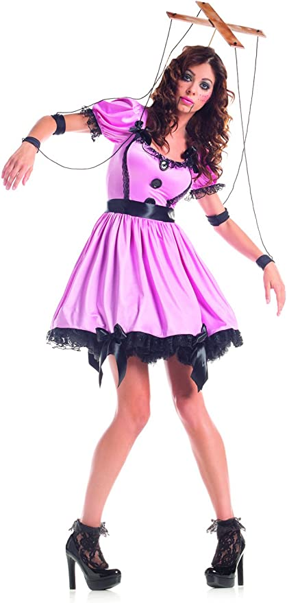 Adult Women Marionette Halloween Costume Dress Back Head Bow Print Tight Choker