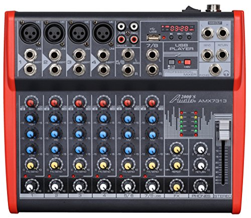 Rotary Dj Mixer - Audio2000'S AMX7313-Professional Eight-Channel Audio Mixer with USB and DSP Processor (AMX7313