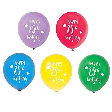 Colorful 25th Birthday Latex Balloons 12inch 15pcs Girl Boy Happy Party