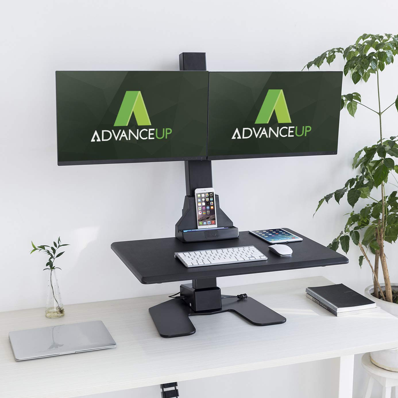 AdvanceUp Electric Ergonomic Standing Desk Converter Riser, Motorized Height Adjustable Stand Up Computer Station, 44lbs Capacity with Dual Swilvel Monitor Mount, Black, Standard