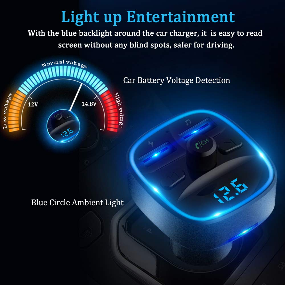 Gray Hands Free Calls 1-T25-G Bluetooth FM Transmitter for Car Support TF Card /& USB Drive 2 USB Ports Car Charger Vproof in-Car Wireless Radio Adapter Music Player Car Kit W Blue Circle Ambient Light