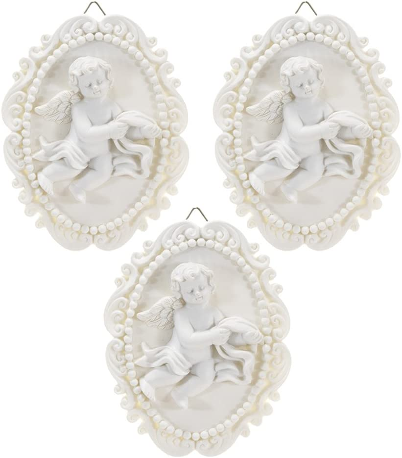 Mega Crafts Religious Wall Décor Angel Figurines Plaque, Set of 3 | Poly Resin Construction | Hang Or Wall Mount Via The Hanging Loop | for Praying, Home Décor, Housewarming Gift, Meditation & More