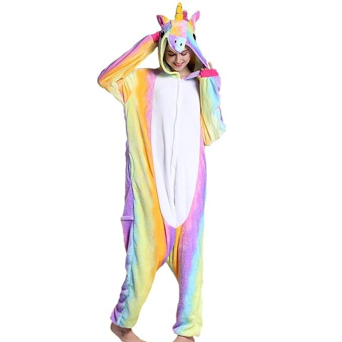 Adulto Unisex Franela Unicornio Animal Onesies Pijamas OnePiece Cosplay (arcoiris, L)