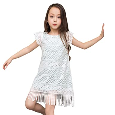 c938edd2e0689 Clode® for 2-9 Years Old, Cute Baby Girls Short Sleeve Lace Tassel ...