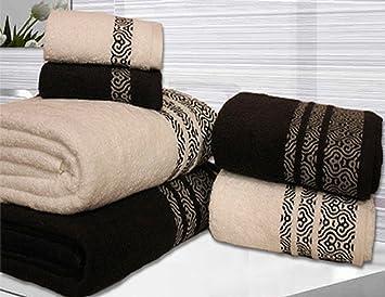Toallas con diseño abstracto de Valentini, 600 g/m2, para cara, manos y cuerpo, Blanco y negro, 6 Pieces Set: Amazon.es: Hogar