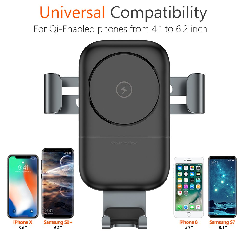 Plus TORRAS Wireless Charger for Car S8 Auto-Clamping 2-Gear Fast Wireless Cell Phone Holder Mount Cradle Compatible for Samsung Galaxy S9 8//8 Plus and More WS-GWV20 S7 S9 S6 iPhone Xs//XR//X