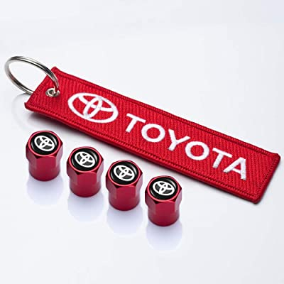 PATWAY 5 Pcs Metal Car Wheel Tire Valve Stem Caps Suit for Toyota with Embroidered Tag Keychain Key Ring Logo Styling Decoration Accessories: Automotive