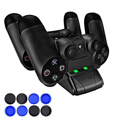 PECHAM DualShock 4 Charging Station - PS4/PS4 Slim Controller Charger Dock - Modern Design & LED Indicator - USB Cable & 8 Thumb Grips