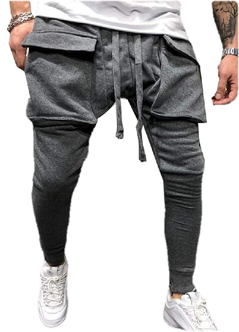 UUYUK Men Active Big Pockets Elastic Waist Fashion Drawstring Long Pants