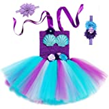 SZ-TONDA Girl Ariel Mermaid Costume Dress - Handmade Halloween Party Cosplay Birthday Tutu Outfit for Kid Toddler Child…