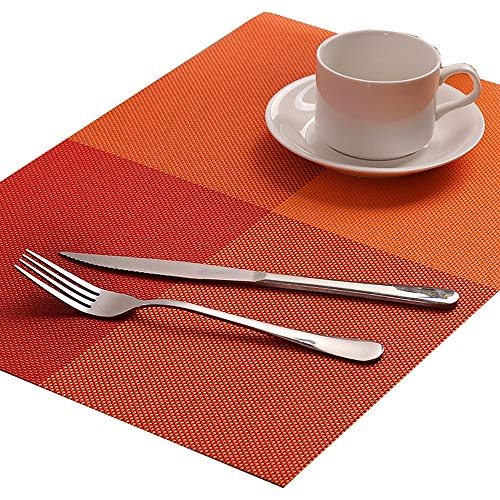 (SMILINGGIRL Place Mats, Simple Table Place Mats And Coasters Sets of 4 - Premium Heat Resistant Non-Slip Anti-Scalding Insulation Placemat Washable Tableware Square Dining Table Mats,Orange)