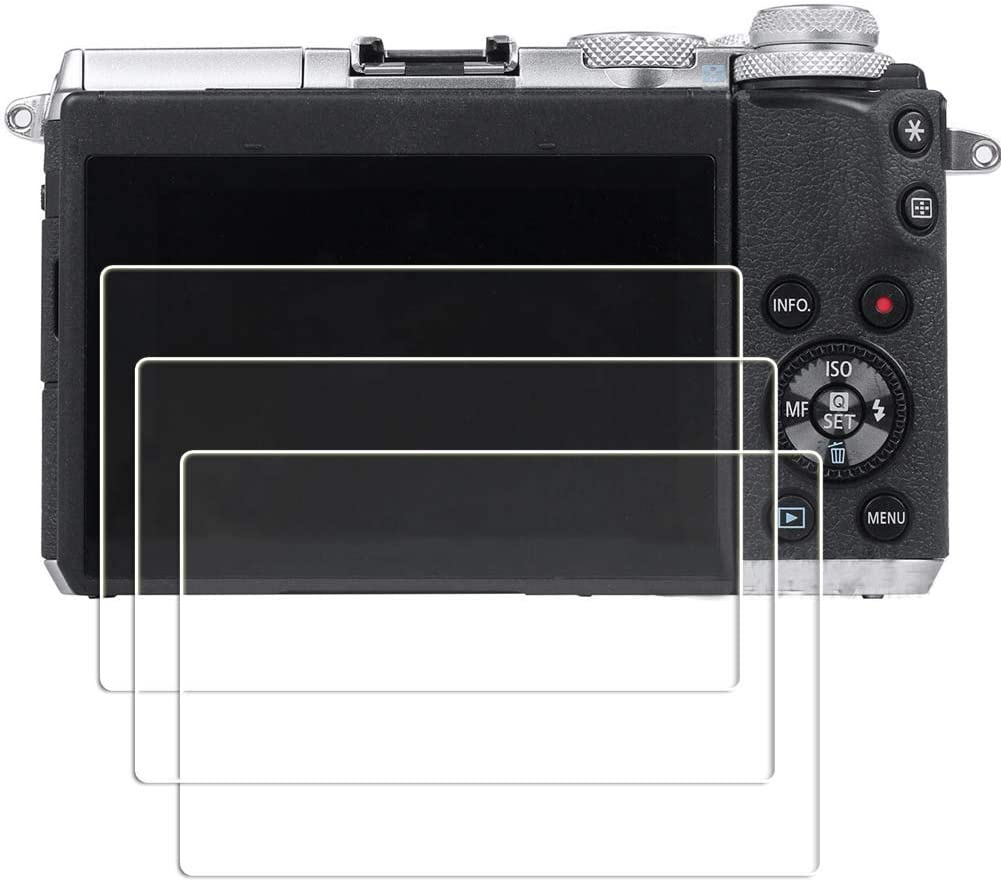 PCTC Tempered Glass Screen Protector Skin Film Compatible for Canon EOS M6 II Mark II M6II 2 3 Pack