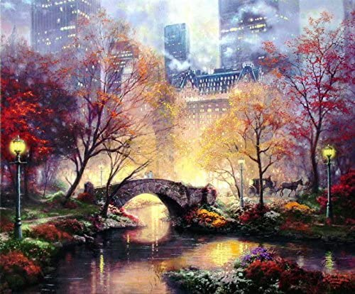 Amazon Com Real Hand Painted Central Park In The Fall Canvas Oil Painting For Home Wall Art Decoration Not A Print Giclee Poster Posters Prints
