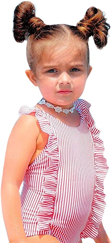 Girls Swimming Costume 1-5 Years Weant Newborn Baby Infant Toddlers Girls Lovely Stripe Print Ruffles Monokini Swimsuit One-Piece Bathing Suit Beach Swimwear for Kids Holiday Outfit Gifts
