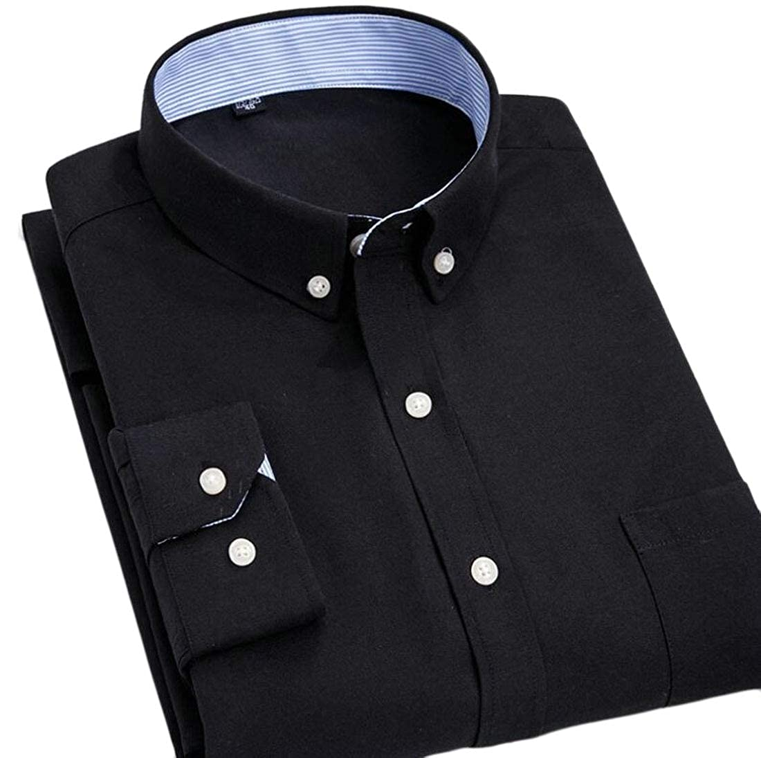 Mens Slim Fit Oxford Shirt Long Sleeve Button Down Collar Dress Shirt