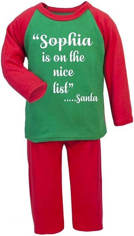 Personalizado Navidad Pijama Niza lista Navidad infantil pijama infantil Navidad regalos Pjs de Navidad niños Christmas Eve cajas Regalos rosso Talla:4-5 años: Amazon.es: Bebé