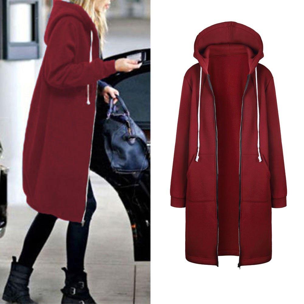 Senoly Damen Kapuzenmantel Wintermantel Lang Strickjacke Jacke Mantel Kapuzenmantel Outwear Trenchcoat Winter Warm Coat Outwear