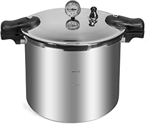 Barton 22-Quart Pressure Canner Pressure Cooker Built-in Pressure Gauge with Rack Induction Compatible, Aluminum Polished 22 QT