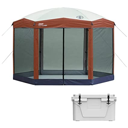 dbd5089c6df Amazon.com : Coleman Back Home 12x10 Foot Instant Screen House Hexagon  Canopy & 42 Can Cooler : Sports & Outdoors