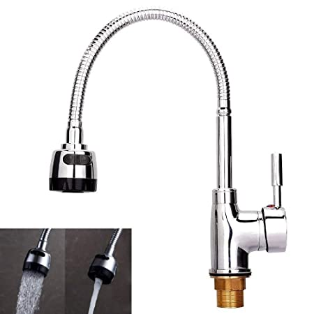 Kitchen Sink Mixer Taps With Flexible Spray Modern Single Lever ...