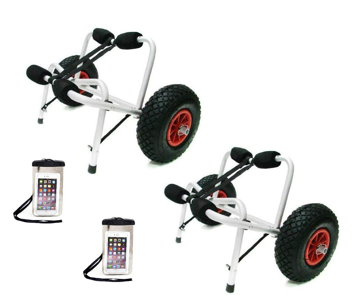 TMS 2 X Jon Boat Kayak Canoe Carrier Dolly Trailer Tote Trolley W/2 Free Cellphone Bag by TMS