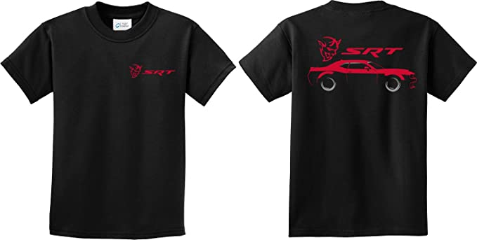 c2d2cadd Amazon.com: Buy Cool Shirts Kids Dodge Challenger SRT Silhouette (Front &  Back) Youth Shirt: Clothing