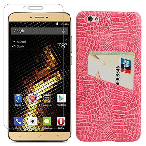 Cheap Gzerma Hard Case for Blu Vivo 5 V0050UU with Screen Protector, Slim Fit PU Leather Coated Cover with Card Slots, Easy to Install Protective Film for Blu Vivo5 5.5″ Phone (Crocodile Pattern, Pink)
