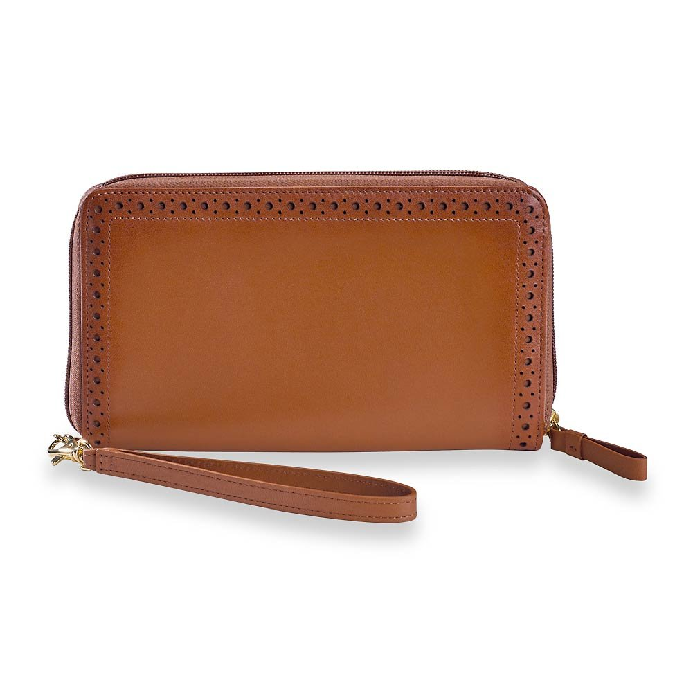 Levenger Leather Credit Card Wallets for Woman Wingtip Carry-All, with Removable Wristlet Strap