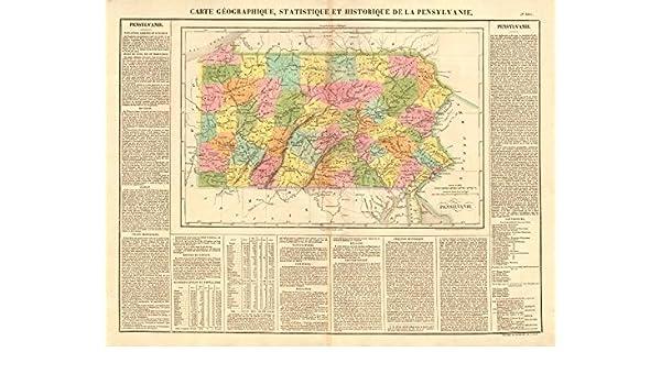 Amazon Com Pensylvanie Pennsylvania State Map Includes The